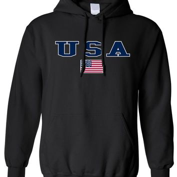 Men's/Unisex Pullover Hoodie U.S.A. Flag Proud To Be An American