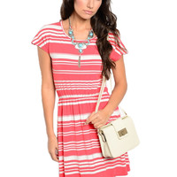 Cap Sleeve Striped Knit Sun Dress