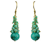 Turquoise Cascade Cluster Earrings