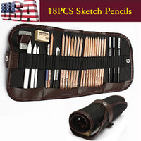 18PCS Sketch Pencils Charcoal Extender Eraser Paper Pen Cutter Drawing kit tool