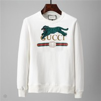 GUCCI 201 autumn and winter new embroidery leopard letters Logo printing men's casual sets of round neck sweater White
