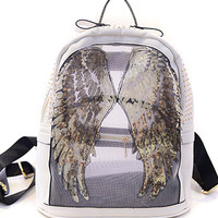 White Sequined Wing Stud Embellished PU Backpack