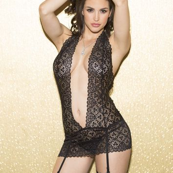 Shirley Of Hollywood Stretch Lace Gartered Chemise With Rhinestones
