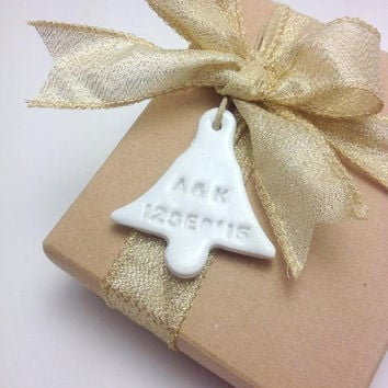 Custom Personalized Wedding Tags, Wedding Favors, Wedding Bells, Wedding Favours, Clay Favors, Pack of 10 or 25
