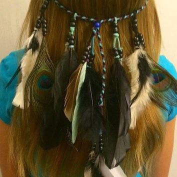 Boho feather headband, Feather, headband, native, american, style, indian headband, hippie headband, Hair Jewelry,