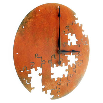 Puzzle V, Extra Large Wall Clock, Rustic, Oversized, Farmhouse Kitchen, Huge, Mechanical Movement, Hanging, Natural, Round Outdoor Metal Art