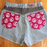 Size 28 Army Green High Waisted Denim Shorts // Peace Signs // Leather // Upcycled Jou Jou Jean Cut Offs
