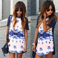 Autumn Leaf Print Round-neck Casual Short Sleeve Blue One Piece Dress [6048213121]