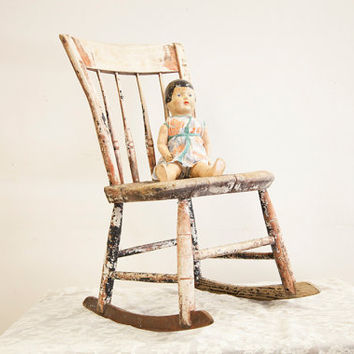 Primitive Antique Childs Wooden Rocking Chair