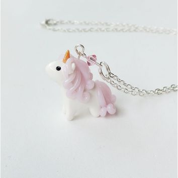 Pink Mini Unicorn Charm Necklace