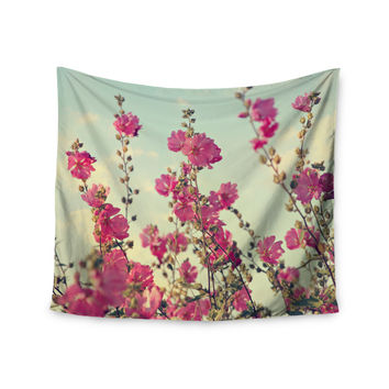 "Sylvia Cook ""Pink Lavatera"" Flowers Sky Wall Tapestry"