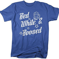 Shirts By Sarah Men's Patriotic 4th July T-Shirt Red White Boozed Drinking Shirts