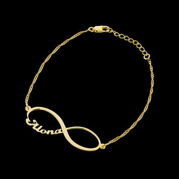 Gold Name Bracelet - Personalized Bracelet - Infinity Bracelet - Custom Bracelet - Personalized Jewelry - Personalized Gift - Engraved
