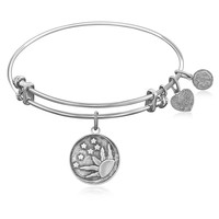 Expandable Bangle in White Tone Brass with Sun  Moon And Stars Symbol