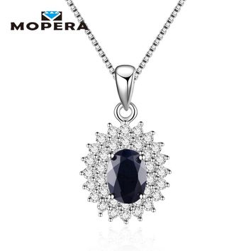 Sapphire Engagement Pendant Necklaces for Women Fine Jewelry 925 Sterling Silver Wedding Best Friend Gift Girls Necklace Chain