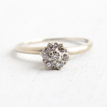 Vintage 14k White Gold Diamond Cluster Ring - Mid Century Statement Engagement Wedding Fine Jewelry