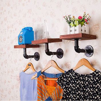 Wood and Iron Floating Shelves