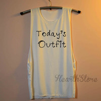 Today's Outfit Shirt Muscle Tee Tank Top TShirt T Shirt Yoga Top Gym Workout Tank - size S M L