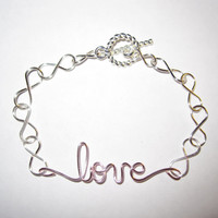 Infinity Love Bracelet Silver Plated Light Pink Copper Wire Wrapped Unique Gifts