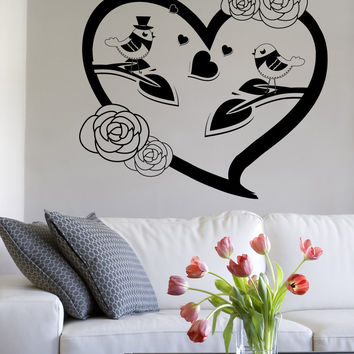 Vinyl Wall Decal Sticker Bird Couple in Flower Heart #1352