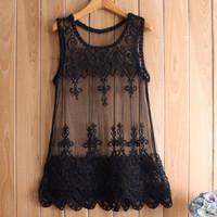 Women Lace See-Through Mesh Floral Printed Top Top Women Tank Vest _ 12601
