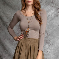 Ya Clothing Suede Skater Skirt in Olive YL19011