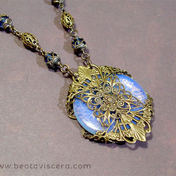 Vintage Style Neo Victorian Gothic Handmade Antique Brass Medallion Opal Quartz Necklace - Natural Stone Pendant - Blue Stone Donut Necklace