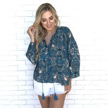 Geovanna Floral Button Up Blouse