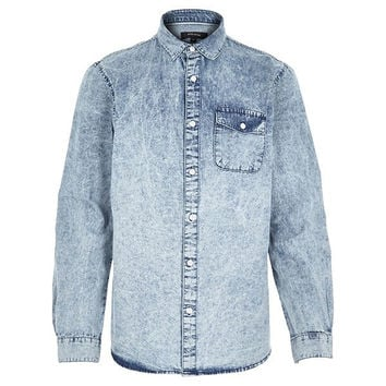 Denim Washed Button Up Shirt