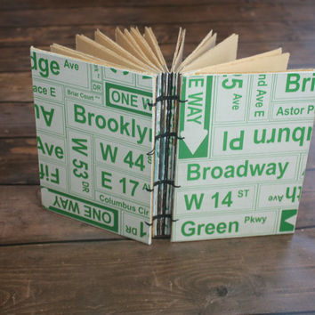 New York Street Sign Travel Journal, Skyline book, Handmade Book, Guest Book,