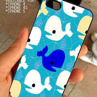 Blue Whale Under the sea Fish  Ocean Patterns for iPhone 4 / 4s or 5 case cover, Black or White