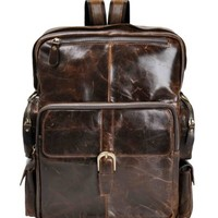 "ZLYC Men Vintage HANDMADE Leather 13"" Laptop MacBook Bag Backpack Casual Daypack Brown"