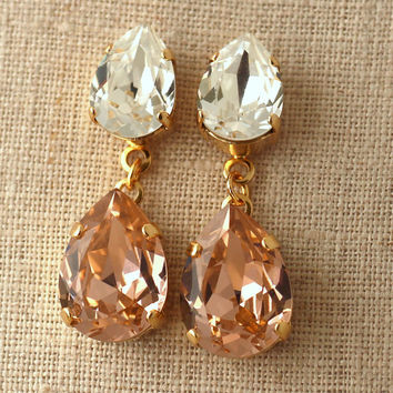Blush Pink Chandelier Earrings, Swarovski Statement Earrings, Peach Crystal earrings, Bridal Blush jewelry, Vintage Pink Dangle earrings