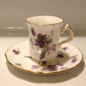 Hammersley England Victorian Violets Demi Cup and Saucer Bone China from England's Countryside Vintage H55