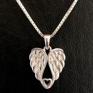 Angel Wing Necklace, Sterling Silver Angel Wing Necklace, Angel Wing Charm Pendant, Tiny Wing Heart Necklace, Dainty Memorial Necklace
