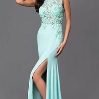 Aqua Floor Length Open Back Lace Bodice Dress by Dave and Johnny