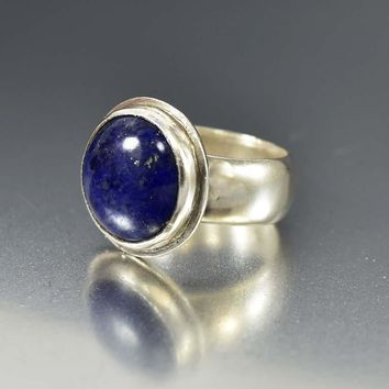 Bold Modernist Sterling Silver Lapis Lazuli Ring