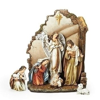 Joseph Studio 7 Piece Christmas Nativity Scene Set with Back Wall-66088