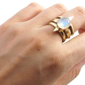 Pinnacle ring - yellow bronze and rainbow moonstone - multi-band ring - handmade jewellery