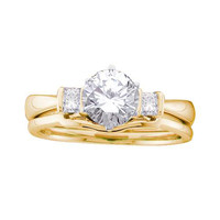 Diamond Bridal Ring with 1.00ct Center Round Stone in 14k Gold 1.24 ctw