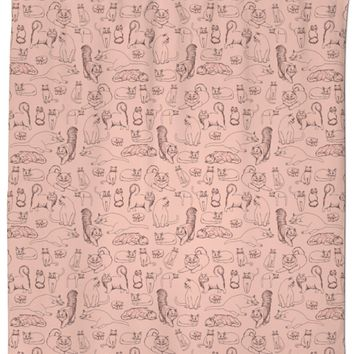 Sketches of Cats Pink Shower Curtain