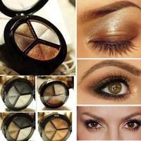 Smoky cosmetic set 3 colors professional natural matte eyeshadow makeup eye shadow palette Naked Nude Eye Shadow glitter