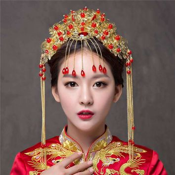 Vintage Chinese Wedding Bridal Headpiece with Side Tassels and Frontlet