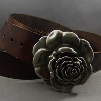 Vintage Brown Leather Belt Rose by 4mLeatherDesign on Etsy