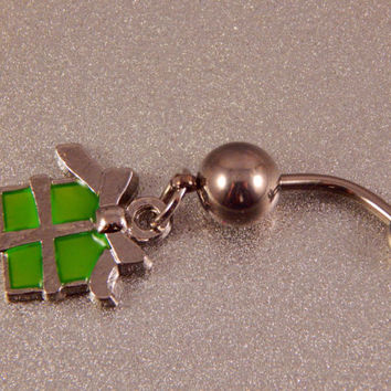 Green gift charm Belly Ring - unique, one of a kind navel jewelry, body piercing holiday charm, unique gift idea for teen, college student