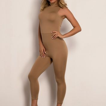 Zip Back Mock-Neck Unitard Jumpsuit