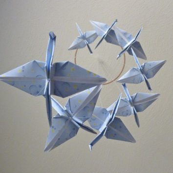 SALE - Baby Mobile Origami Crane Mobile Children Decor Eco Friendly Home Unique Gift Celestial Peace Star Moon Light Blue