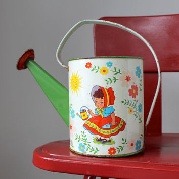 Vintage Ohio Art Child's Watering Can, Gardening, Spring, Childhood, Nursery Rhymes, Litho Tin Watering Can
