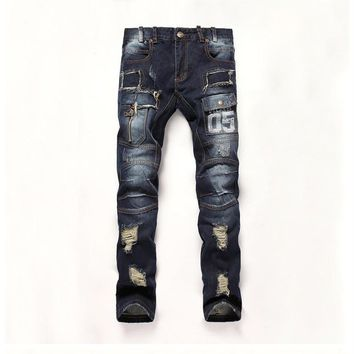 Mens Camouflage Jeans Camo Military Slim Fit