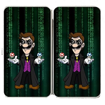 'Plumbtrix' Long Coat Character w/ Mushrooms Floating Funny Video Game & Computer Science Fiction Movie Parody - Taiga Hinge Wallet Clutch